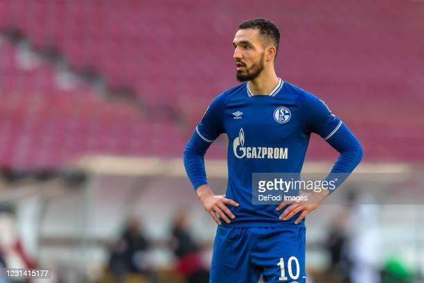 Nabil Bentaleb of FC Schalke 04 Looks on during the Bundesliga match between VfB Stuttgart and FC Schalke 04 at Mercedes-Benz Arena on February 27,...