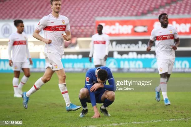 Nabil Bentaleb of FC Schalke 04 reacts after missing a penalty during the Bundesliga match between VfB Stuttgart and FC Schalke 04 at Mercedes-Benz...