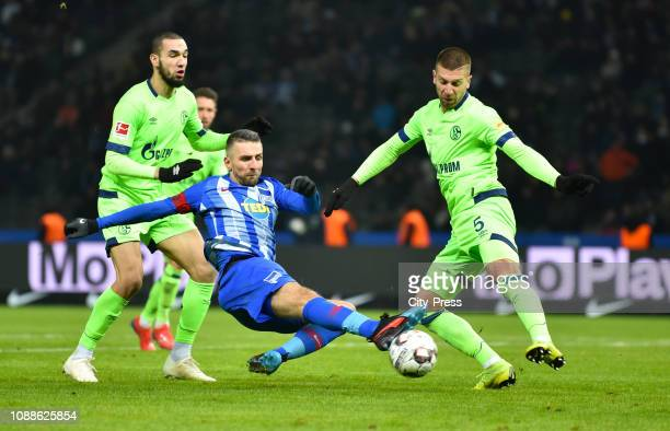 Nabil Bentaleb of FC Schalke 04 Vedad Ibisevic of Hertha BSC and Matija Nastasic of FC Schalke 04 during the game between Hertha BSC and Schalke 04...