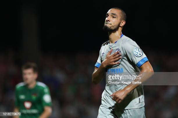Nabil Bentaleb of Schalke 04 celebrates his first goal for Schalke 04 during the first round match of DFB Cup between 1 FC Schweinfurt 05 and FC...