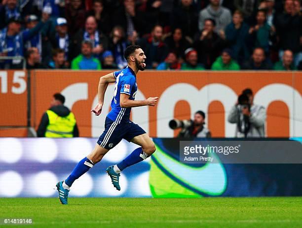 Nabil Bentaleb of Schalke 04 celebrates scoring a goal during the Bundesliga match between FC Augsburg and FC Schalke 04 at WWK Arena on October 15...