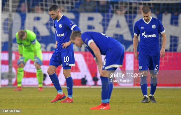 Nabil Bentaleb of Schalke looks dejected after the UEFA Champions League Round of 16 First Leg match between FC Schalke 04 and Manchester City at...