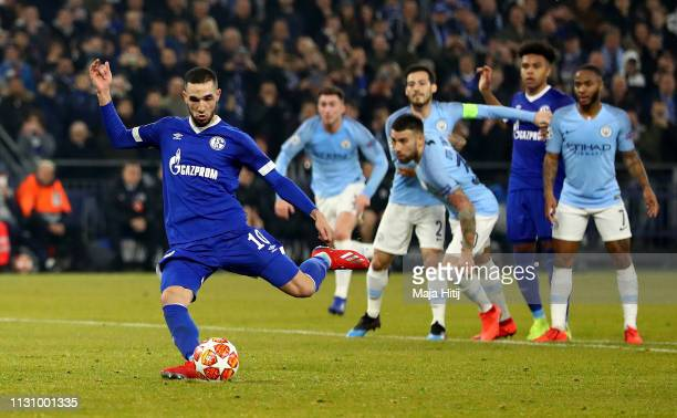 Nabil Bentaleb of Schalke scores the equalizing goal by penalty kick during the UEFA Champions League Round of 16 First Leg match between FC Schalke...