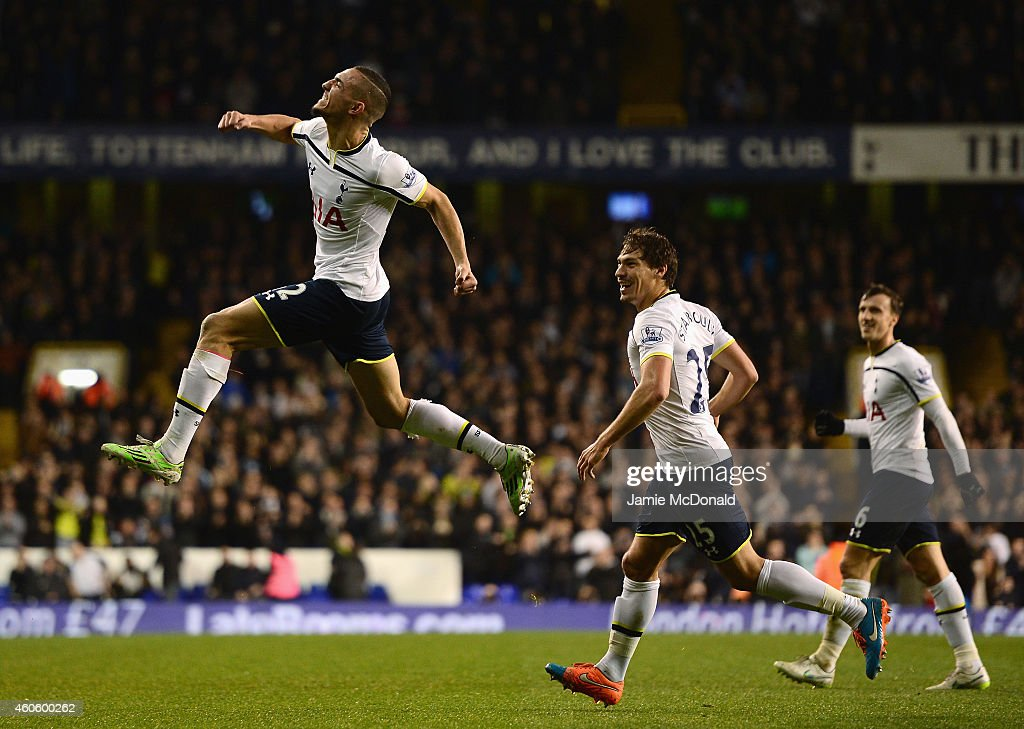Nabil Bentaleb of Tottenham Hotspur celebrates scoring the opening goal during the Capital One Cup Quarter-Final match between Tottenham Hotspur and Newcastle United at White Hart Lane on December 17, 2014 in London, England.