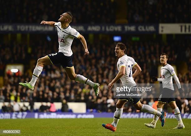 Nabil Bentaleb of Tottenham Hotspur celebrates scoring the opening goal during the Capital One Cup QuarterFinal match between Tottenham Hotspur and...