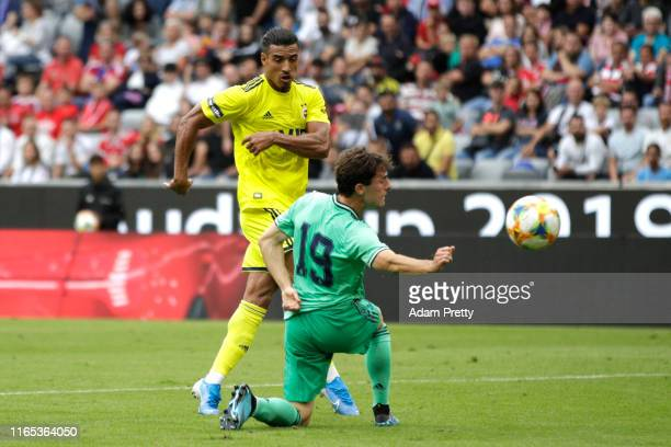 Nabil Dirar of Fenerbache scores his sides second goal during the Audi cup 2019 3rd place match between Real Madrid and Fenerbahce at Allianz Arena...