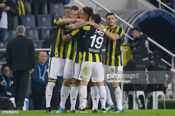 Nabil Dirar of Fenerbahce celebrate 10 during the Turkish Super lig match between Fenerbahce v Sivasspor at the Sukru Saracoglustadion on November 19...