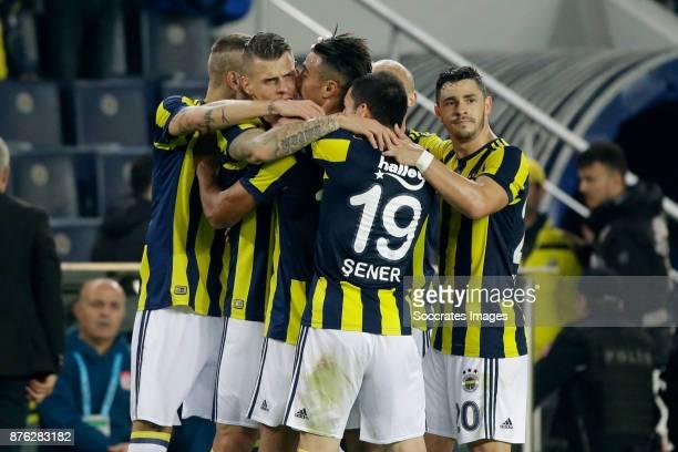 Nabil Dirar of Fenerbahce celebrate 1-0 during the Turkish Super lig match between Fenerbahce v Sivasspor at the Sukru Saracoglustadion on November...