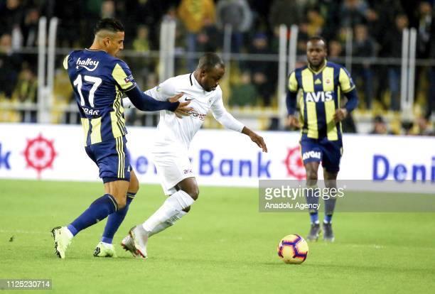 Nabil Dirar of Fenerbahce in action against Abdou Razack Traore of Atiker Konyaspor during Turkish Super Lig soccer match between Fenerbahce and...