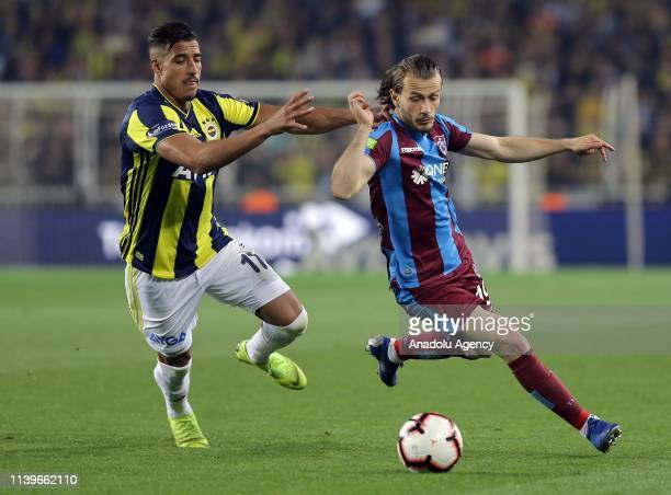 Nabil Dirar of Fenerbahce in action against Abdulkadir Parmak of Trabzonspor during Turkish Super Lig week 30 soccer match between Fenerbahce and...