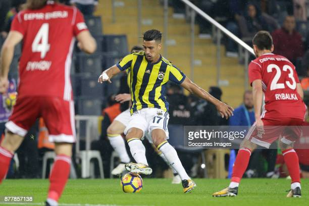 Nabil Dirar of Fenerbahce Serhiy Rybalka of Sivasspor during the Turkish Super lig match between Fenerbahce v Sivasspor at the Sukru Saracoglustadion...