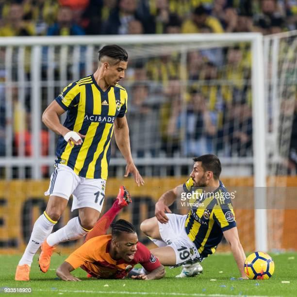 Nabil Dirar of Fenerbahce SK Garry Mendes Rodrigues of Galatasaray SK Sener Özbayrakli of Fenerbahce SK during the Turkish Spor Toto Super Lig match...