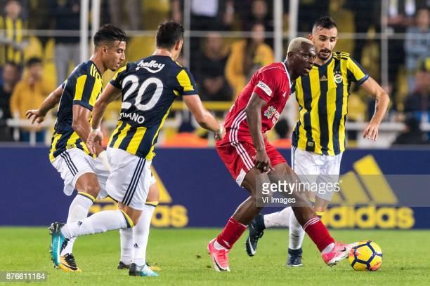 Nabil Dirar of Fenerbahce SK Giuliano Victor de Paula of Fenerbahce SK Arouna Kone of Demir Grup Sivasspor Mehmet Topal of Fenerbahce SK during the...