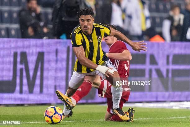 Nabil Dirar of Fenerbahce SK Hakan Arslan of Demir Grup Sivasspor during the Turkish Spor Toto Super Lig football match between Fenerbahce and Demir...