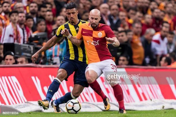 Nabil Dirar of Fenerbahce SK Iasmin Latovlevici of Galatasaray SK during the Turkish Spor Toto Super Lig football match between Galatasaray SK and...