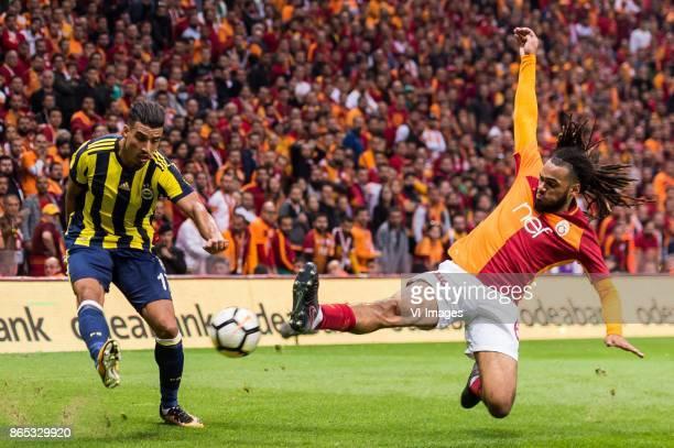 Nabil Dirar of Fenerbahce SK Jason Gregory Denayer of Galatasaray SK during the Turkish Spor Toto Super Lig football match between Galatasaray SK and...