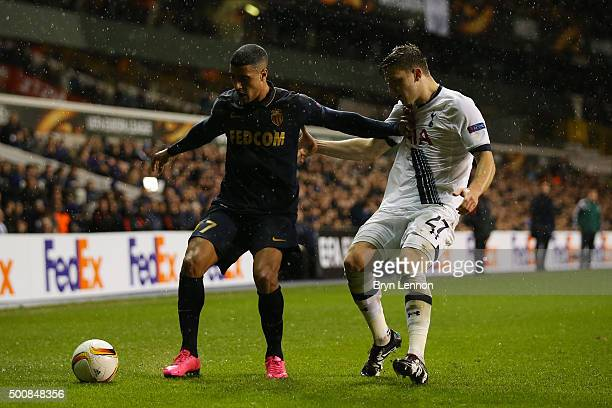 Nabil Dirar of Monaco holds off the challenge from Kevin Wimmer of Spurs during the UEFA Europa League Group J match between Tottenham Hotspur and AS...