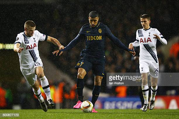 Nabil Dirar of Monaco is closed down by Eric Dier and Tom Carroll of Spurs during the UEFA Europa League Group J match between Tottenham Hotspur and...