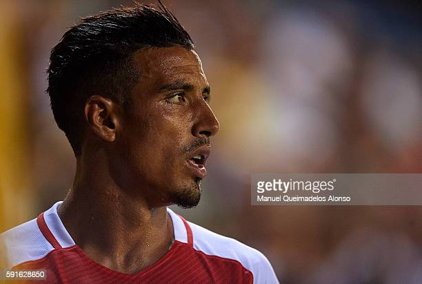 Nabil Dirar of Monaco looks on during the UEFA Champions League playoff first leg match between Villarreal CF and AS Monaco at El Madrigal on August...