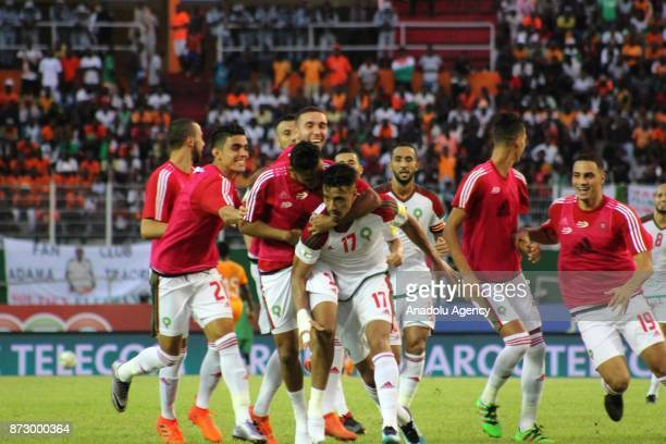 Nabil Dirar of Morocco celebrates after scoring a goal during the 2018 FIFA World Cup African Qualifying Group C football match between Ivory Coast...