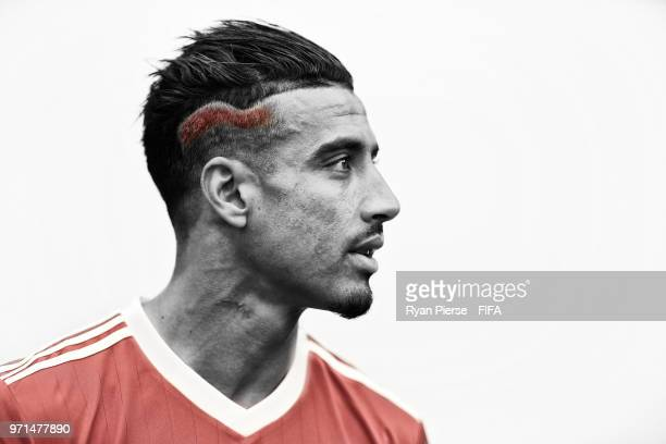 Nabil Dirar of Morocco poses during the official FIFA World Cup 2018 portrait session on June 10 2018 in Voronezh Russia