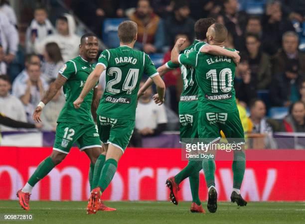 Nabil El Zhar Darko Brasanac and Nabil El Zhar of CD Leganes celebrates after scoring their opening goal during the Copa del Rey Quarter Final Second...