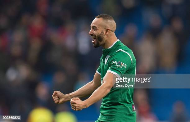 Nabil El Zhar of CD Leganes celebrates after Leganes beat Real Madrid 21 on aggregate in the Copa del Rey Quarter Final Second Leg match between Real...