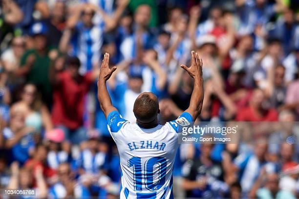 Nabil El Zhar of CD Leganes reacts during the La Liga match between CD Leganes and Villarreal CF at Estadio Municipal de Butarque on September 16...
