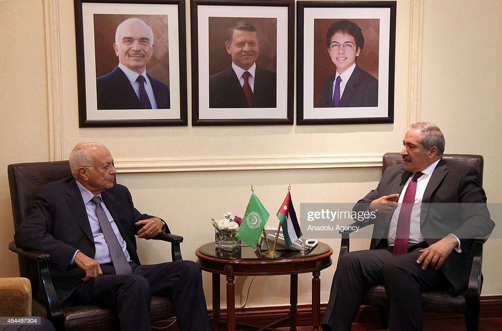 Nabil Elaraby (L), Secretary-General of the Arab League and Jordanian Foreign Minister Nasir Cudeh (R) meet at Foreign Ministry Building in Amman, Jordan on August 31, 2014.