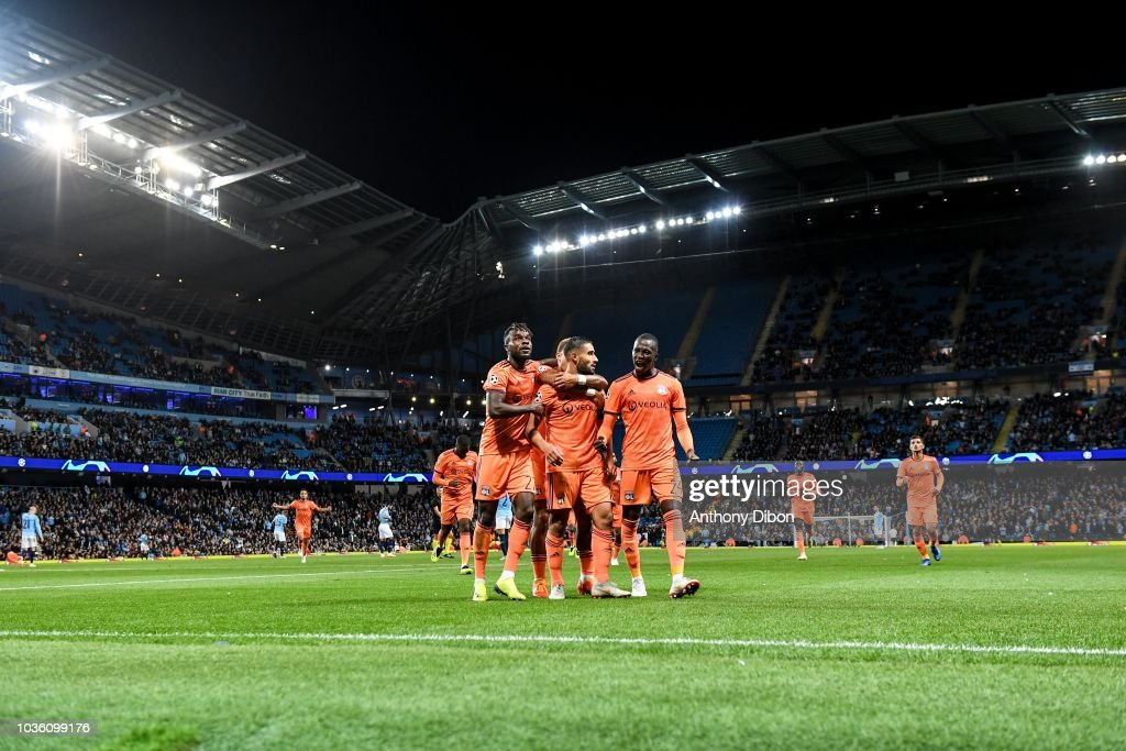 Nabil Fekir And Team Of Lyon Celebrate A Goal During The Champions