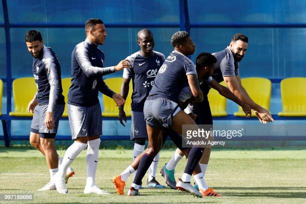 Nabil Fekir Corentin Tolisso N'golo Kante Presnel Kimpembe Thomas Lemar and Adil Rami of France attend the French national football team training...