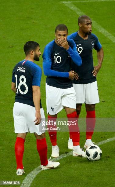 Nabil Fekir Kylian Mbappe Djibril Sidibe of France during the international friendly match between France and Republic of Ireland at Stade de France...