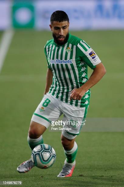 Nabil Fekir of Betis in action during the Liga match between Real Betis Balompie and Granada CF at Estadio Benito Villamarin on June 15, 2020 in...