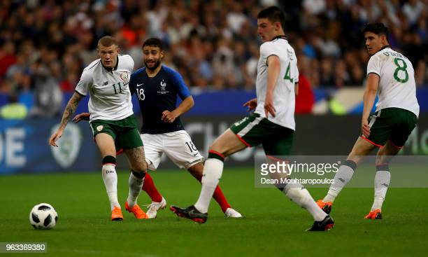 Nabil Fekir of France and James McClean of Ireland battle for the ball during the International Friendly match between France and Ireland at Stade de...