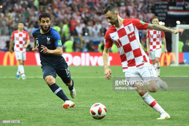 Nabil Fekir of France and Marcelo Brozovic of Croatia during the World Cup Final match between France and Croatia at Luzhniki Stadium on July 15 2018...