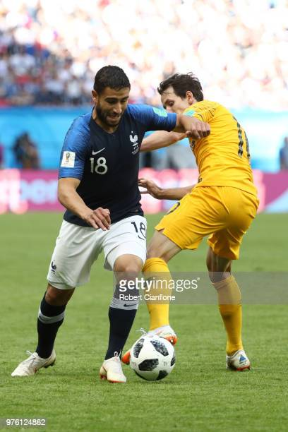 Nabil Fekir of France and Robbie Kruse of Australia battle for the ball during the 2018 FIFA World Cup Russia group C match between France and...