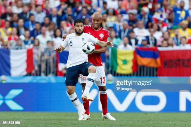 Nabil Fekir of France and Zanka of Denmark battle for the ball during the 2018 FIFA World Cup Russia group C match between Denmark and France at...