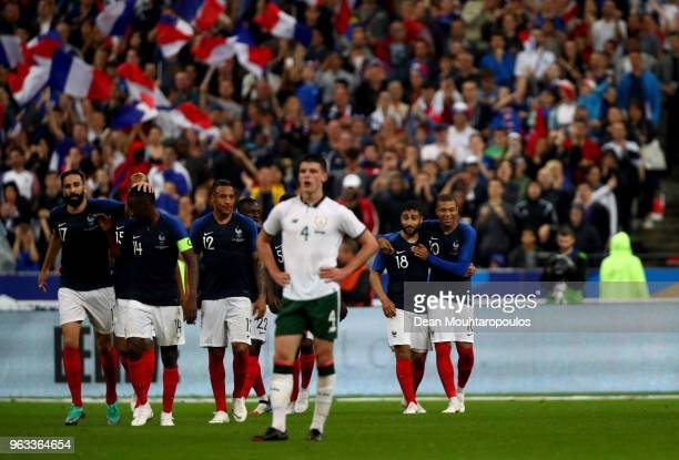 Nabil Fekir of France celebrate with his team mates after he scores the 2nd goal during the International Friendly match between France and Ireland...