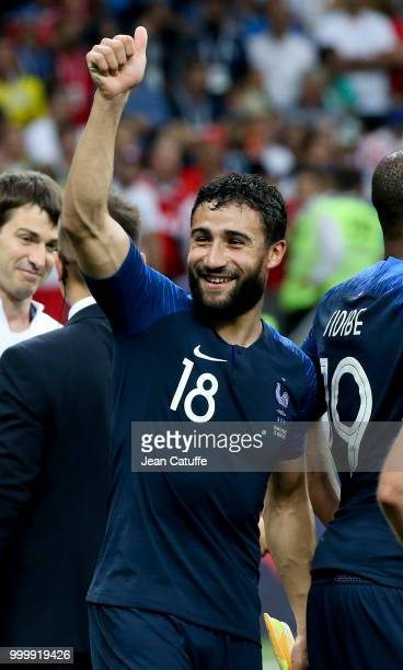 Nabil Fekir of France celebrates the victory following the 2018 FIFA World Cup Russia Final between France and Croatia at Luzhniki Stadium on July 15...