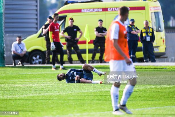 Nabil Fekir of France looks injured during Team France training session ahead of the FIFA World Cup 2018 on June 17 2018 in Istra Russia