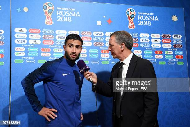 Nabil Fekir of France speaks to media following the 2018 FIFA World Cup Russia group C match between France and Australia at Kazan Arena on June 16...