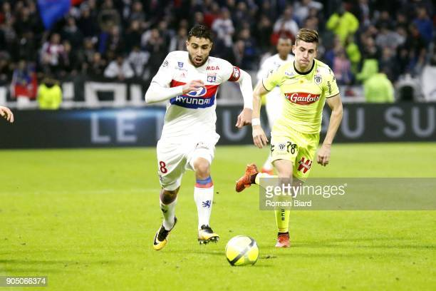 Nabil Fekir of Lyon and Baptiste Santamaria of Angers Photo by Romain Biard / Icon Sport