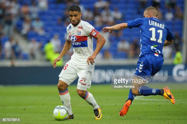 Nabil Fekir of Lyon and Dimitri Lienard of Strasbourg during the Ligue 1 match between Olympique Lyonnais and Strasbourg at Parc Olympique on August...