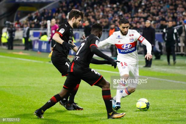 Nabil Fekir of Lyon and Hamari Traore of Rennes and Sanjin Prcic of Rennes during the Ligue 1 match between Olympique Lyonnais and Stade Rennes at...
