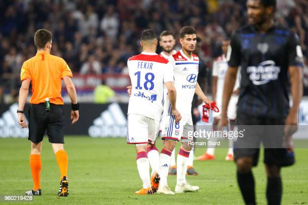 Nabil Fekir of Lyon and Houssem Aouar of Lyon during the Ligue 1 match between Olympique Lyonnais and OGC Nice at Parc Olympique on May 19 2018 in...
