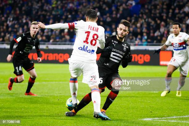Nabil Fekir of Lyon and Jeremy Gelin of Rennes during the Ligue 1 match between Olympique Lyonnais and Stade Rennes at Parc Olympique on February 11...
