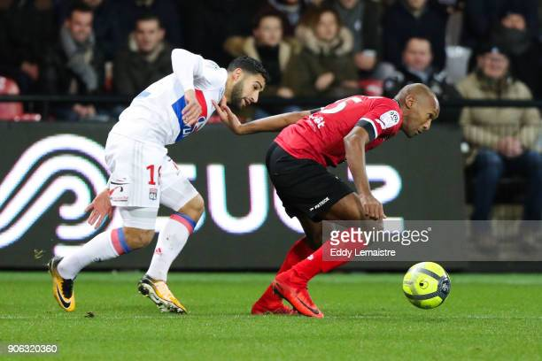 Nabil Fekir of Lyon and Jeremy Sorbon of Guingamp during the Ligue 1 match between EA Guingamp and Olympique Lyonnais at Stade du Roudourou on...