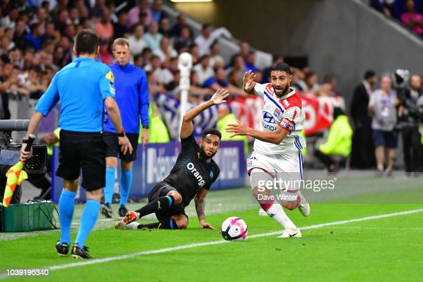 Nabil Fekir of Lyon and Jordan Amavi of Marseille during the Ligue 1 match between Lyon and Marseille at the Groupama Stadium on September 23 2018 in...