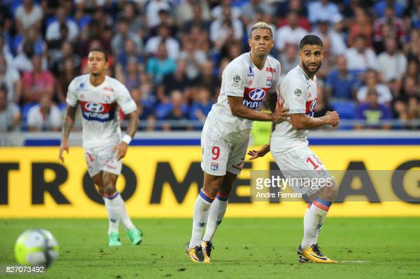 Nabil Fekir of Lyon and Mariano Diaz Mejia of Lyon and Memphis Depay of Lyon during the Ligue 1 match between Olympique Lyonnais and Strasbourg at...