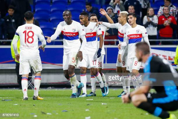 Nabil Fekir of Lyon and Mouctar Diakhaby of Lyon and Myziane Maolida of Lyon celebrate during europa league match between Olympique Lyonnais and...